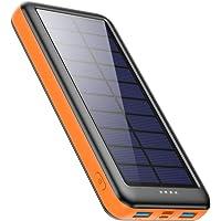 Feob Cargador Solar 26800mah, Power Bank Solar【2020 IC de Control Inteligente】con Entradas de Tipo-C, Micro USB o…