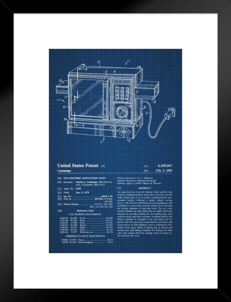 Poster Foundry Electric Oven Toy Retro Official Patent Blueprint Matted Framed Wall Art Print 20x26 inch