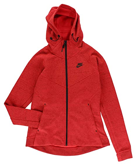 7f021c2100ab NIKE Women s Tech Fleece Windrunner Red   Black Long Sleeve Zip Up Hoodie  at Amazon Women s Clothing store