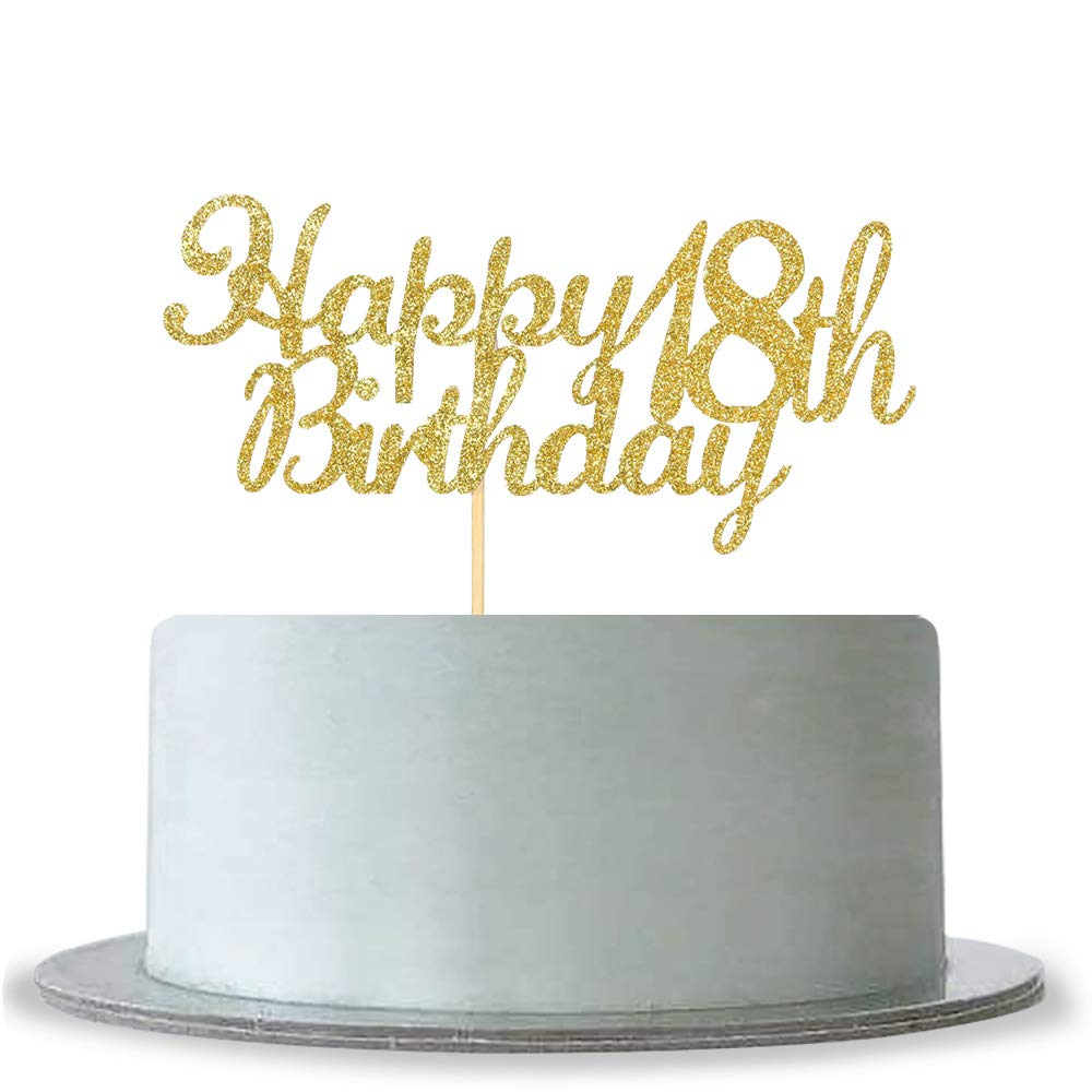 Amazon Happy 18th Birthday Cake Topper Gold Glitter Hello BirthdayAnniversary Party Decoration Kitchen Dining