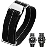 60's French Troops Parachute Special Elastic Nylon Watch Band Man's Universal Nylon Strap Black 20/21/22mm