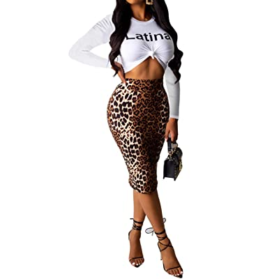 Two Piece Outfits for Women Casual Letter Print Long Sleeve T-Shirt Crop Top Leopard Midi Dress Bodycon Skirt Set: Clothing