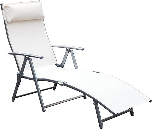 Outsunny Tumbona Plegable Respaldo Ajustable a 7 Niveles con Almohada Textilene Resistente Relax en Exterior Piscina Terraza Camping 137x63.5x100.5cm Acero: Amazon.es: Jardín