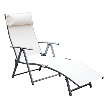 Outsunny Sling Fabric Folding Patio Reclining Outdoor Deck Chaise Lounge  Chair With Cushion   Cream White