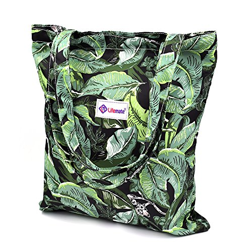 LIFEMATE Floral Tote Bags Waterproof Tote Shoulder Handbag for Girls' Shopping Travel Outdoor (Green Leaves) Review
