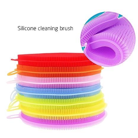 GerTong - Esponja de silicona para limpieza de platos de cocina, 4 unidades, cepillo