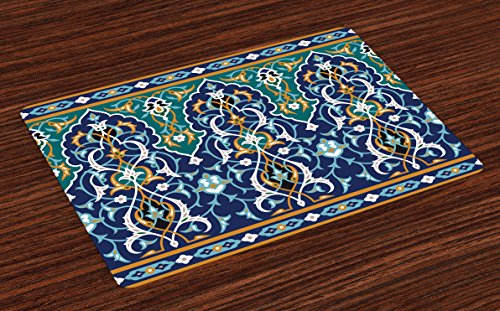 Ambesonne Moroccan Place Mats Set of 4, Ethnic Oriental Figure Petals Hippie Vintage Tribal Mosaic Design, Washable Fabric Placemats for Dining Room Kitchen Table Decor, Blue Mustard