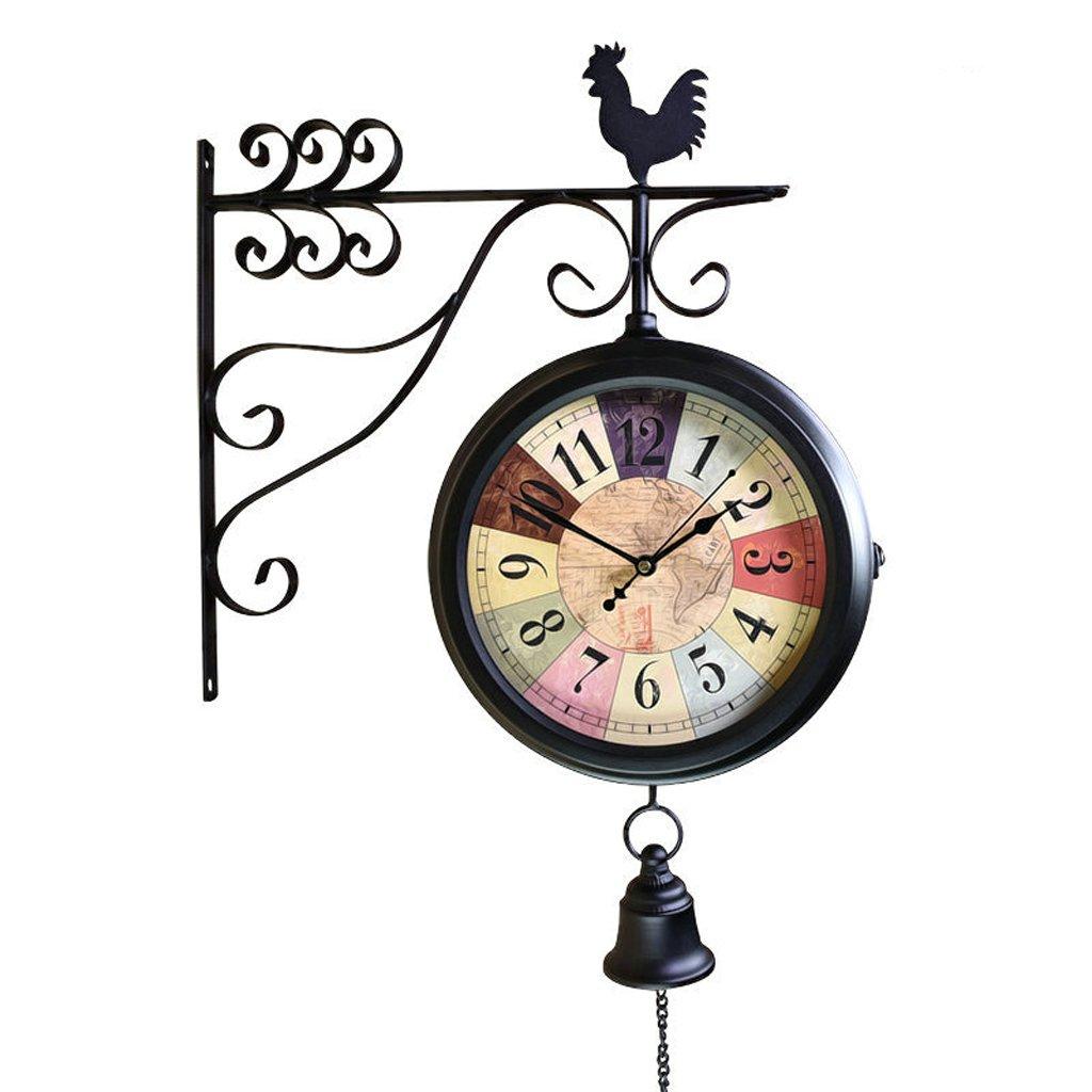 Doppelseitige Wanduhr Schmiedeeisen Europäische Retro einfache Handwerk Uhr kreative Wohnzimmer Stumme Hahn Uhr 360 ° rotierenden Zifferblatt