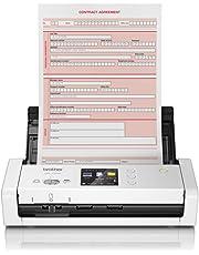 Brother ADS1700W Scanner Compatto Desktop, Duplex Dual CIS, Velocità 25 ppm/50 ipm, Risoluzione 1.200 Dpi, Adf da 20 Fogli, USB e Wi-Fi, LCD Touchscreen da 7.1 cm, Driver Twain, WIA