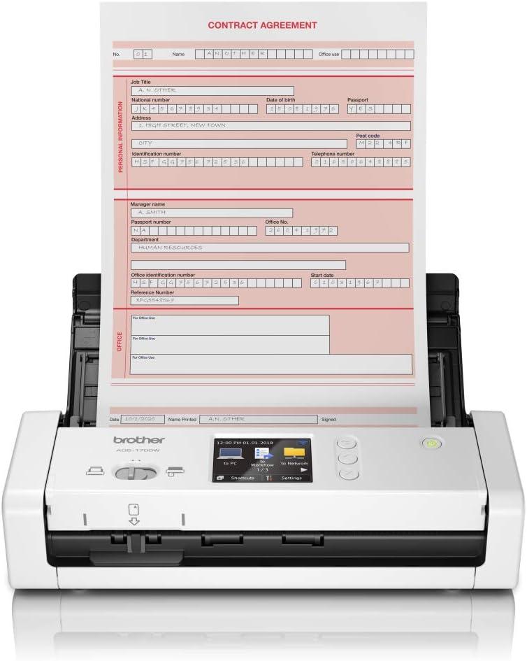 Brother ADS-1700W Scanner de Documents Compact et Intelligent | Chargeur de Documents | Numérisation Automatique | Wi-Fi/Wi-Fi Direct