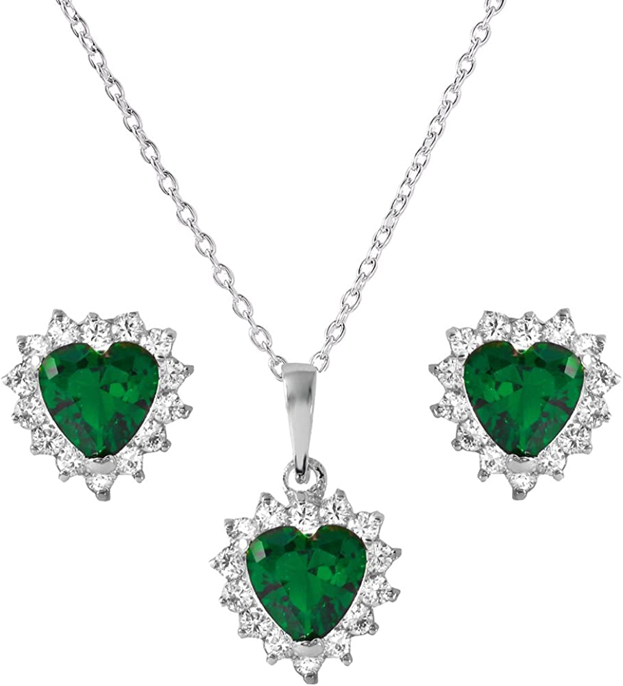 Princess Kylie Clear Cubic Zirconia Iced Heart Earrings and Necklace Set Rhodium Plated Sterling Silver
