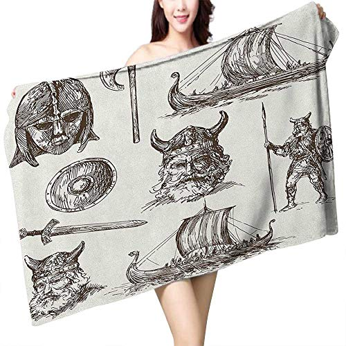 - homecoco Extra Long Bath Towel Viking Ancient War Figures Sword Shield and Warriors Mask Dragon Head Ship Medieval W10 xL39 Suitable for bathrooms, Beaches, Parties