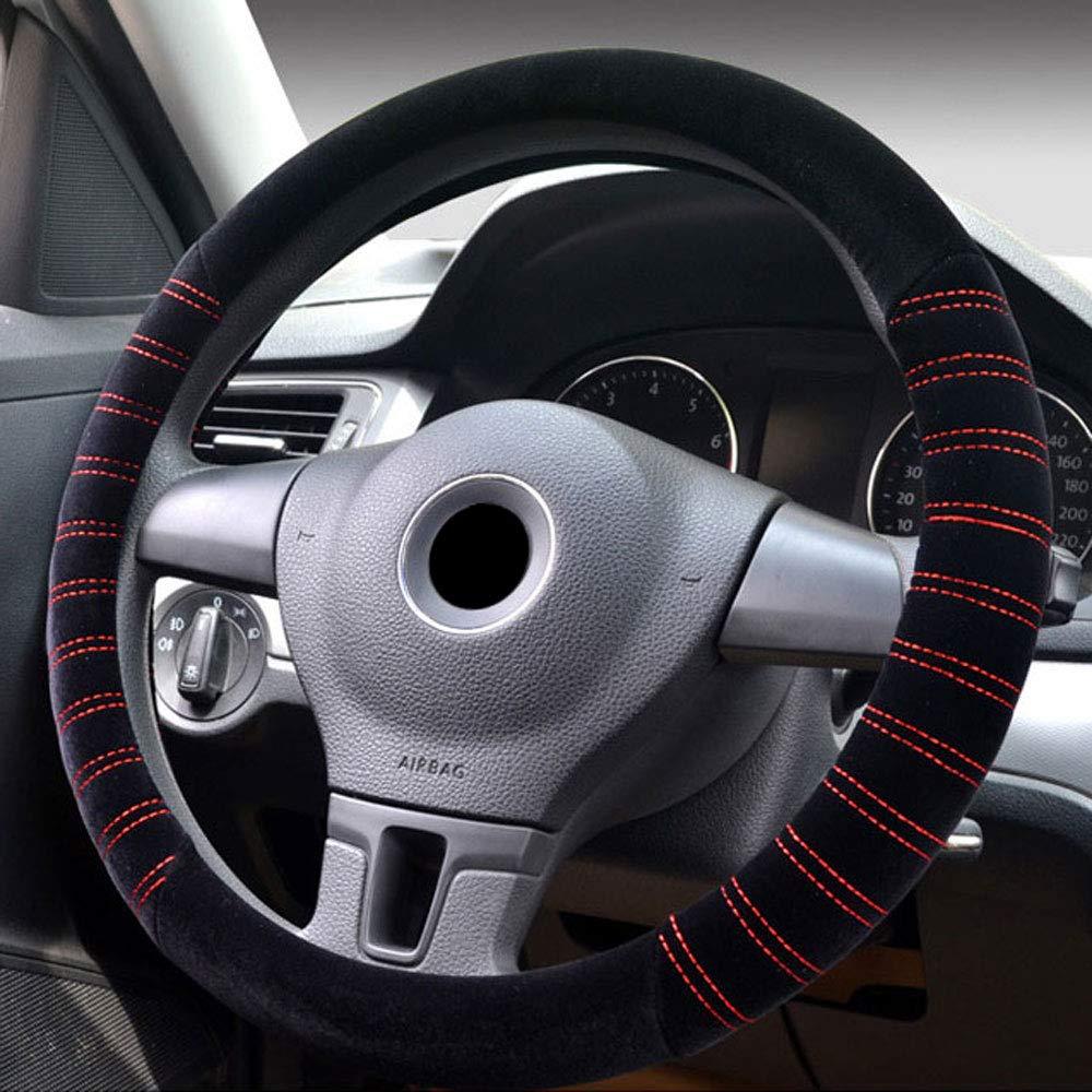 Universal Fit Plush Soft Car Steering Wheel Cover 37-38CM/15' Anti Slip Breathable Protector Warm Winter Autumn Auto Accessory for Truck SUV Van - Black & Orange FrohLila