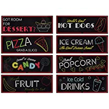 8-Pack Food Signs - Neon Food Signs, Fun Party Decorations, Movie Theme Party Supplies- Banner for Parties, Movie Nights, Restaurants, Various Designs, 17.5 x 6.25 inches