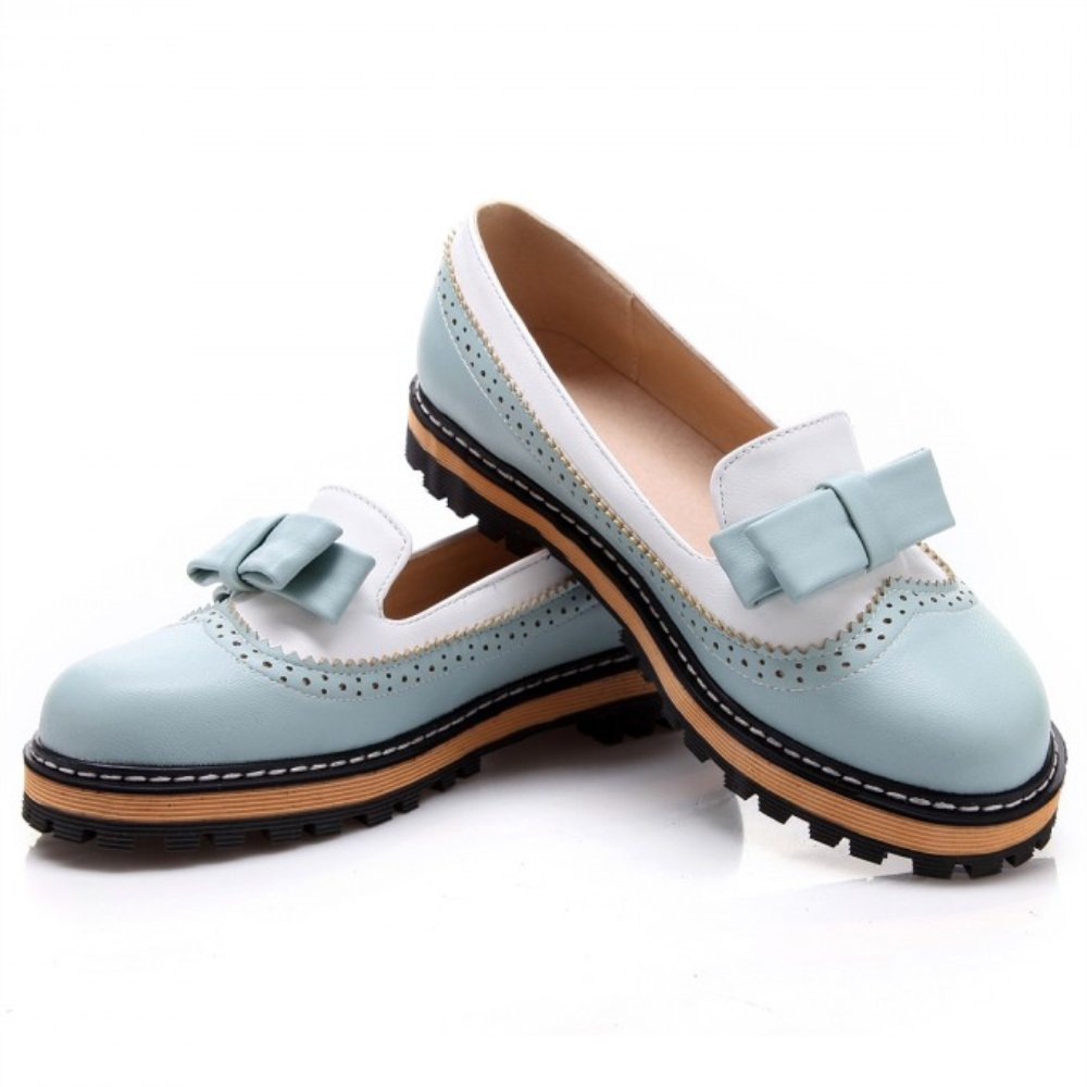 Womens Low Heel Bow Candy Color Oxford Shoes Blue