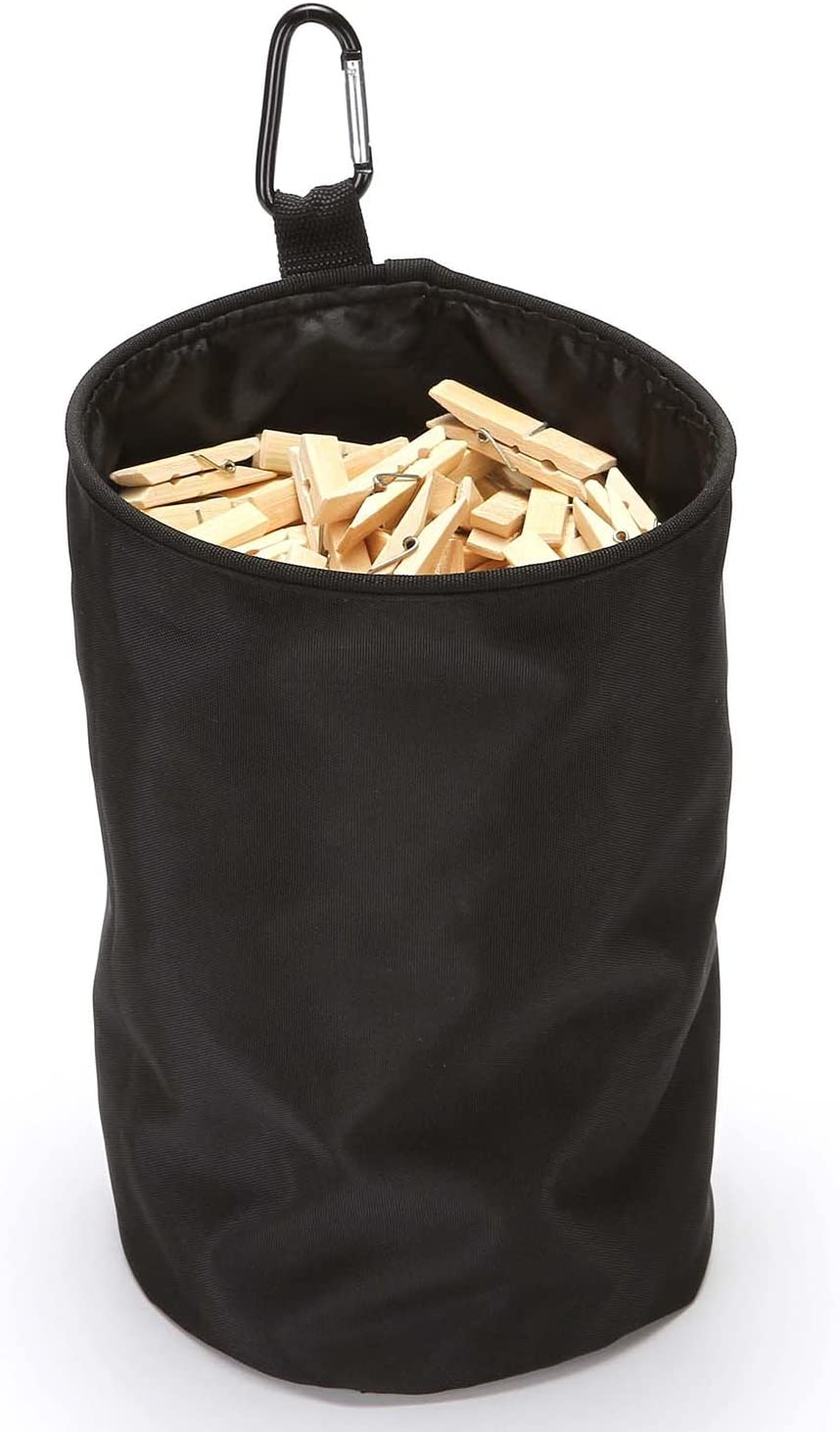 VEAMOR Clothespin Bag Hanging Clothesline Peg Organizer Storage Bags,Dust-Proof (Black)