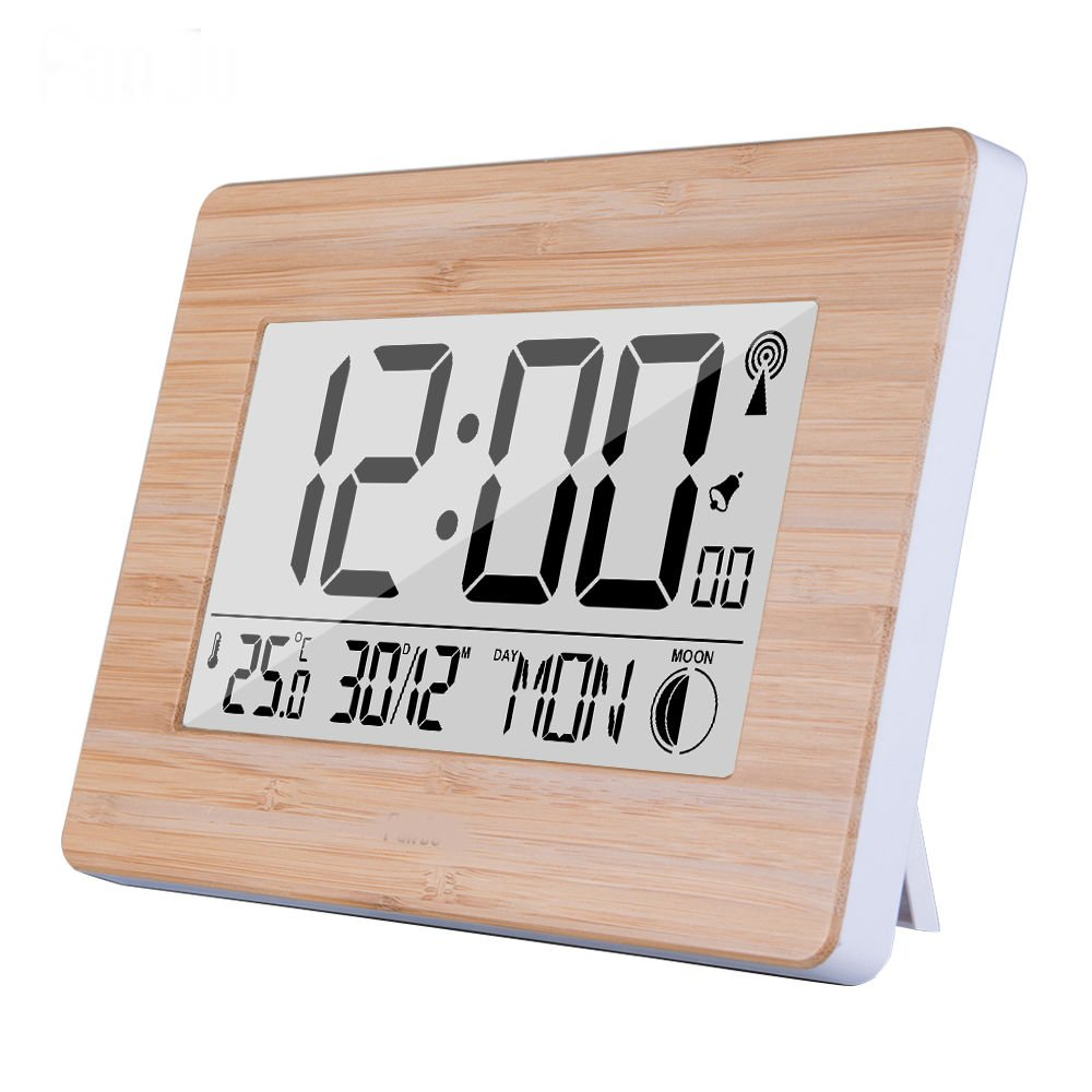 Large Digital Display LCD Wall Clock US Radio Controlled Atomic Auto Set Up with Dual Alarm Desktop Multi-Function Time Calendar Temperature Moon Lunar Phase Day Month Date Wood Panel Face