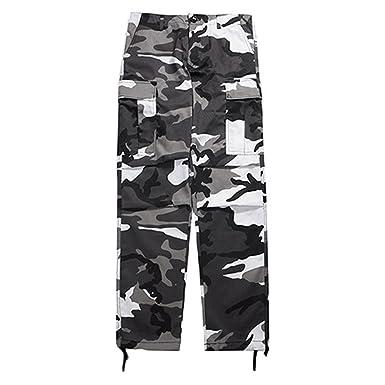 Junkai Hip Hop Streetwear Pants Camo Cargo Pants Mens Womens Baggy