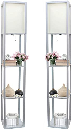 Simple Designs Home LF1014-GRY Etagere Organizer Storage Shelf Floor Lamp
