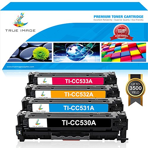 TRUE IMAGE Compatible Toner Cartridge Replacement for HP CC530A HP Color LaserJet CP2025 CP2025N CP2025DN CM2320 CM2320N MFP CM2320NF MFP CM2320FXI MFP 4Pack (1 Black,1 Cyan,1 Magenta,1 Yellow) (Cp2025 Laserjet Color Printer)