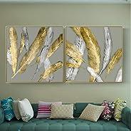 Minimalismo de estilo nórdico Plumas de oro Pinturas sobre lienzo Arte de la pared para sala de estar Cuadros de arte abstra