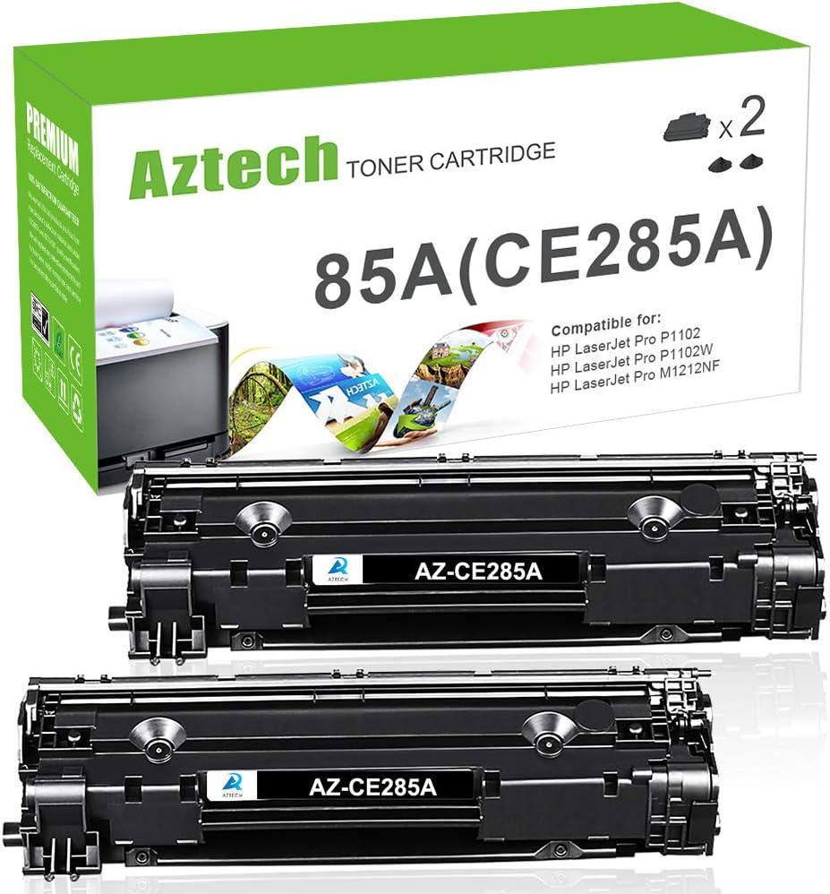 Aztech Compatible Toner Cartridge Replacement for HP CE285A 85A CE285 Laserjet Pro P1102W M1212nf M1217nfw P1100 M1210 (Black, 2-Pack)
