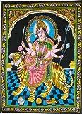 "Huge Cotton Fabric Durga Ma Mother Goddess Yoga 43"" X 30"" Tapestry"