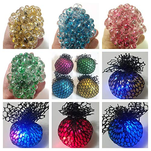 JM 7cm Large Beautiful Glitter Sequins Crystal Clear Slime with LED Light Squishy Mesh Anti Stress Reliever Grape Ball Autism Mood Squeeze Kid Toy Gift (Pack of 4 Color)
