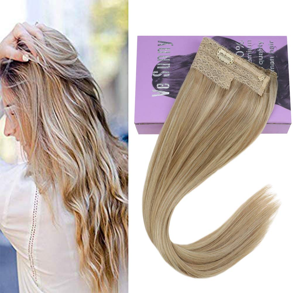 VeSunny 14inch Halo Blonde Hair Extensions Real Human Hair Color #18 Ash Blonde Mixed #613 Bleach Blonde Remy Halo Hair Extensions Invisible Human Hair Extensions 11'' Width 80G/Set