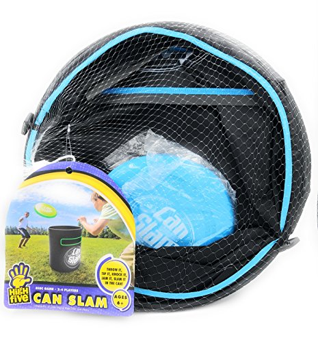 Can Slam Flying Disc Barrel Game Blue and Black (Slam Can Game)