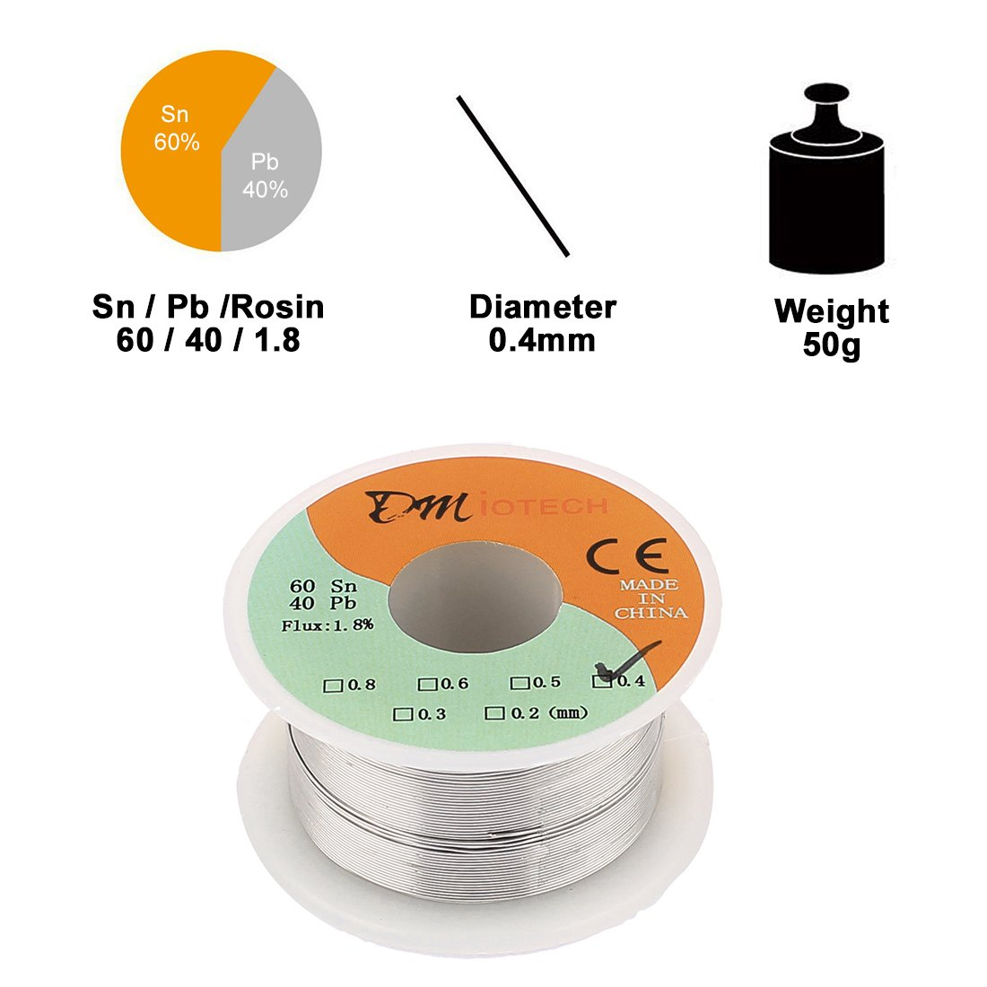 DMiotech 0.4mm 50G 60//40 Rosin Core Tin Lead Roll Soldering Wire Reel