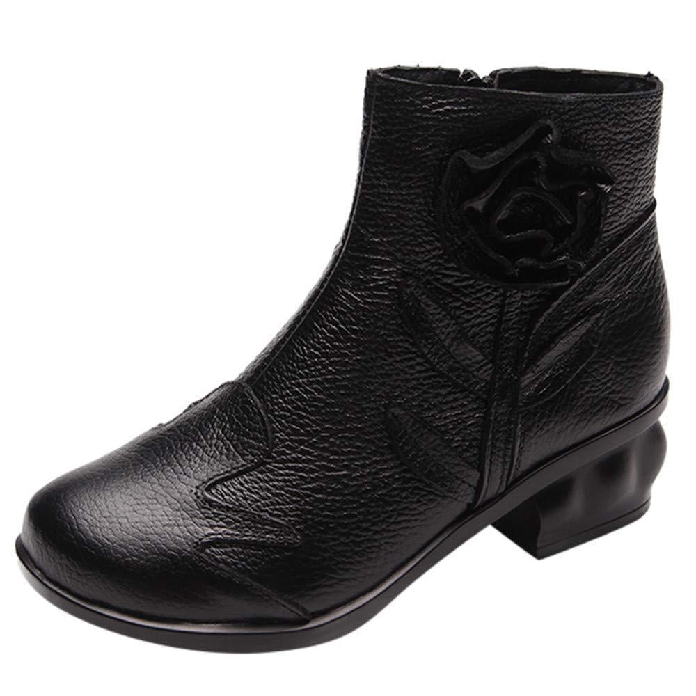 ZHRUI Stiefel Damen Schuhe Stiefeletten Frauen Leder ethnischen Stil Martin Stiefel Hand genähte Blaumen Schuhe Reißverschluss Stiefel (Farbe   Schwarz Größe   39 EU)
