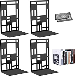 Book Support,Metal Bookends for Shelves Decorative Black Book Ends for School Home Heavy Duty Book Stopper Non Skid Sturdy Bookend Supports,Modern Bookend Holder for Office Kitchen with 1 Card Holder