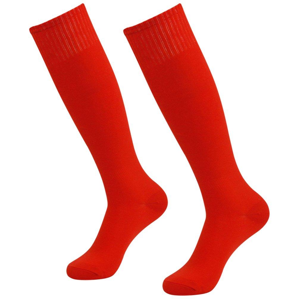 Getspor Solid Football Socks, Unisex Knee High Soccer Tube Socks Baseball Costume Socks Red 2 Pairs