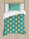 Arabian Duvet Cover Set by Ambesonne, Arabic Oriental Geometric Shapes Lines with Pastel Middle East Art Persian, 2 Piece Bedding Set with Pillow Sham, Twin / Twin XL, Teal Yellow Brown