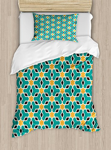 Arabian Duvet Cover Set by Ambesonne, Arabic Oriental Geometric Shapes Lines with Pastel Middle East Art Persian, 2 Piece Bedding Set with Pillow Sham, Twin / Twin XL, Teal Yellow Brown by Ambesonne