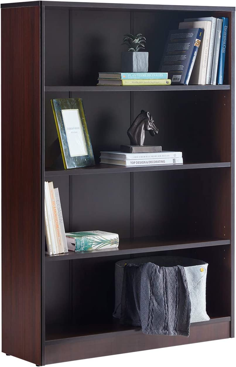 VICLLAX Wood 4-Shelf Bookcase Layer Adjustable Mordern Bookshelf for Home and Office, Espresso