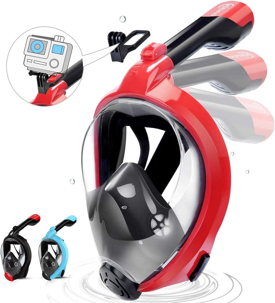 HENGBIRD Máscara de Buceo Integral Máscara de Esnórquel Anti-Vaho Anti-Fuga Gafas Cara Completa 180 ° Visible Apoyo Camara Deportiva