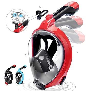 HENGBIRD Máscara de Buceo Integral Máscara de Esnórquel Anti-Vaho Anti-Fuga Gafas Cara Completa 180 ° Visible Apoyo Camara Deportiva (Red L/XL): Amazon.es: ...