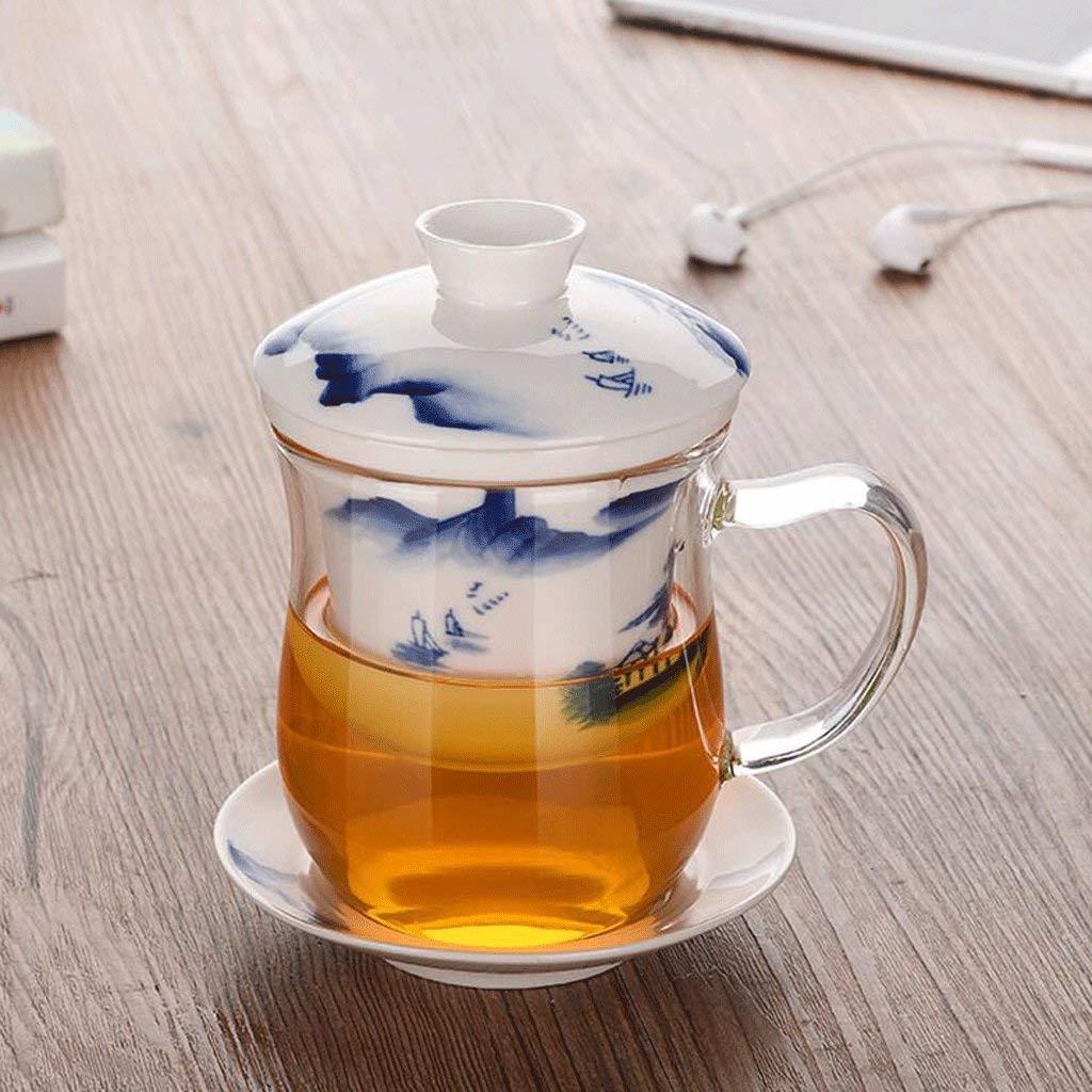 Chusea Kitchen Tea Set Porcelain Drinkware Set Saucers Heat-Resistant Glass Thickening Transparent Glass Tea Set Ceramics Cup Filter Mug Office Home 350ML