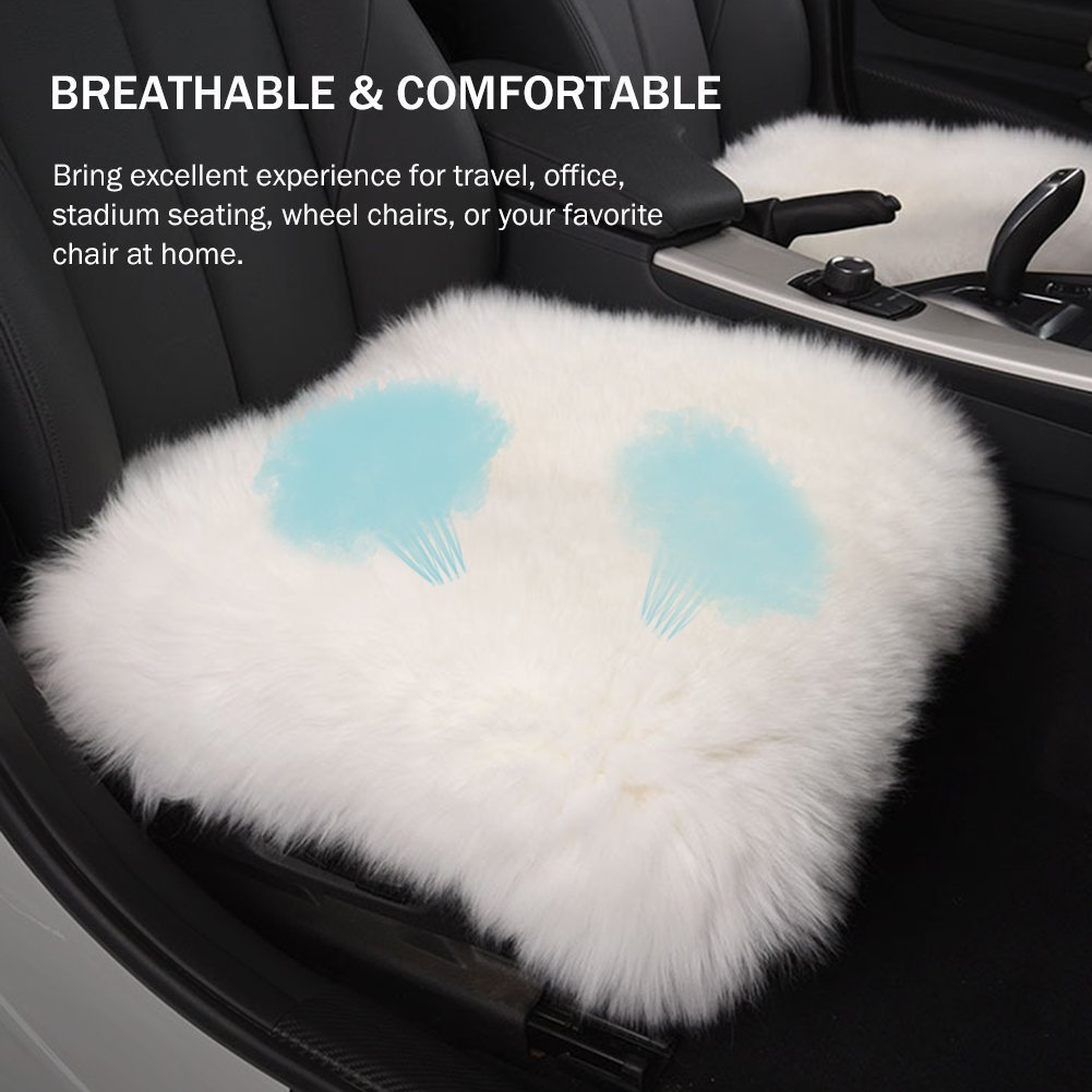 Dofover 18 inch Luxurious Genuine Sheepskin Wool Car Seat Cushion Fur Covers Chair Pad (White) DOH0826