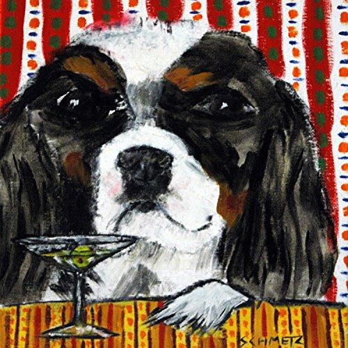 Cavalier King Charles Spaniel at the Martini bar dog art tile coaster gift