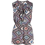 Go CoCo Zip Front Geometric Print Romper with Ruffle Front Trim (Small)