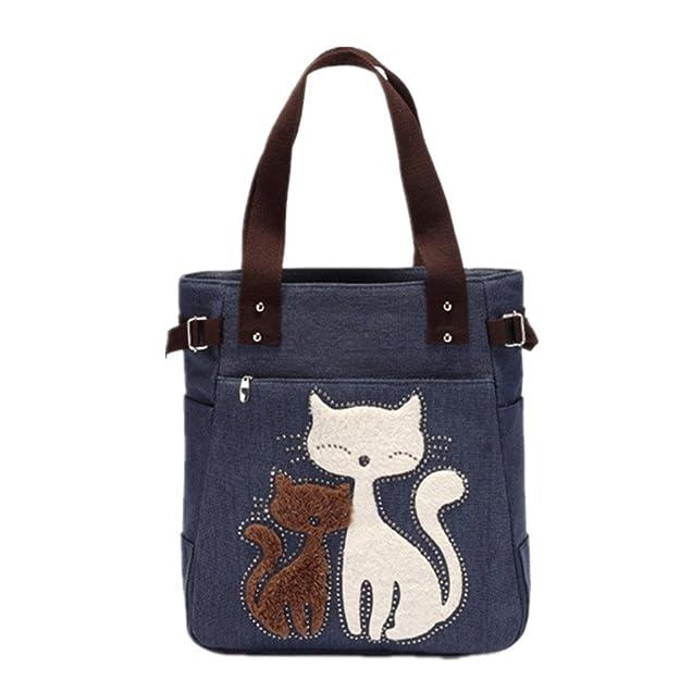YZSKY Women Canvas Handbag Cartoon Cat Big Tote Bag (Dark Blue)
