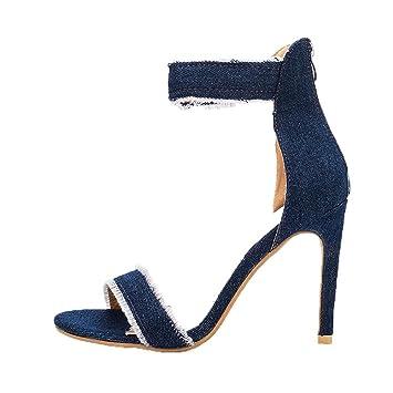 Tacón Altos Denim Tacones De Mujer Moda Boda Zapatos Sandalias rBoWdCxQeE