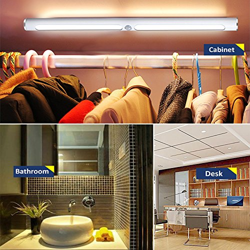 Motion Sensor LED Light Under Cabinet Lights, USB Rechargeable 22-LED Closet Light Magnetic Removable Stick-On Anywhere Safe Light Bar for Drawer/Entrance/Kitchen/Restroom Mirror (2 Modes-Warm) by O'BLACK (Image #4)