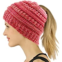 COCO LEE BeanieTail Ponytail Beanie Soft Stretch Cable Knit Messy High Bun Hat