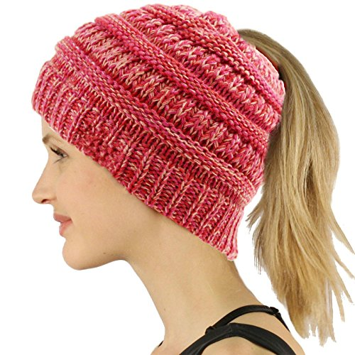 COCO LEE Rose Red Chic Knit Hat Cable Beanie Stretch Chunky Winter Bun Ponytail Beanie Tail Ponytail Messy Bun Beanie Solid Ribbed Hat Cap for Women Girls