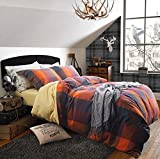 UFO Home 100% Cotton Flannel 3pc Duvet Cover Set, Yarn-dyed Bedding Set, 600 Thread Count High Percale, Purple Orange Red Square Plaid, Button Close Inside Ties Machine Washable (Queen, Raman-WL)