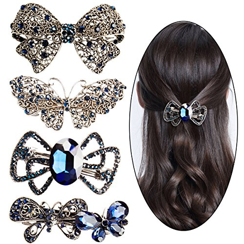 Jaciya 4 Pack Women Girl's Hair Barrette Hair Clips Butterfly Bow Style Hair Pin Barrettes Spring Clip for Women Girl, 4 Pieces